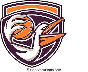Pelican Passing Basketball Shield Retro