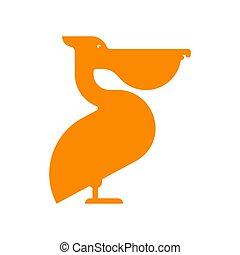 Pelican sign icon Waterfowl. Big yellow beak Vector illustration
