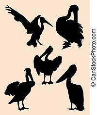 Pelican silhouettes 01.