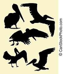 Pelican silhouettes 02.