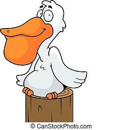 Pelican Smiling - A happy cartoon pelican perched and...