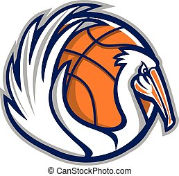 Pelican Wings Basketball Retro - Illustration of a pelican...