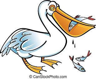 Pelican with fish - Vector image of bird pelican with fish
