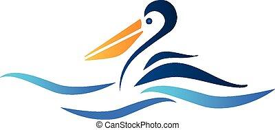 pelicano, pássaro, logotipo