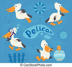 Pelicans - Cute cartoon set of four pelicans on a blue...