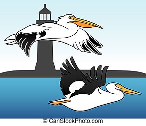 Two pelicans are flying over ocean in front of a lighthouse