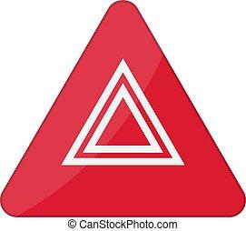 peligro, advertencia, luces, destellos, botón, en, coche., vector, ilustración