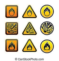 peligro, advertencia, símbolos, conjunto