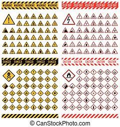 peligro, collection., vector, señal