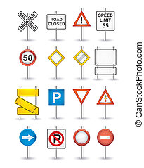peligro, conjunto, señales carretera