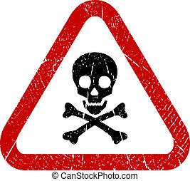 peligro, cráneo, icono