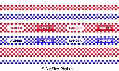 peligro, fondo., cinta, líneas, precaución, crimen, tapes., línea., conjunto, blanco, ilustración, isolated., policía, ribbons., vector, advertencia, barricada