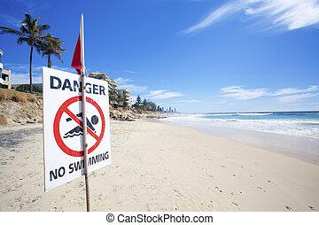 peligro, no, natación