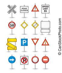 peligro, señales carretera, conjunto
