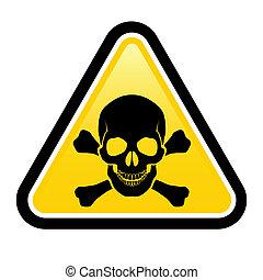 peligro, señales, cráneo