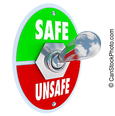 peligro, seguro, inseguro, interruptor, palanca, contra, ...