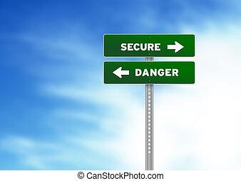 peligro, seguro, muestra del camino