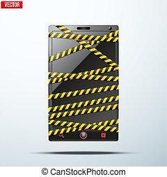 peligro, teléfono móvil, envuelto, tape., smartphone