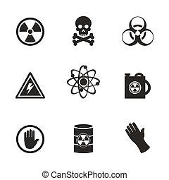 peligro, un, icono