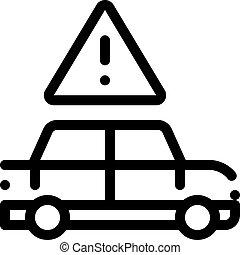 peligro, vector, contorno, obstrucción, coche, ilustración, icono