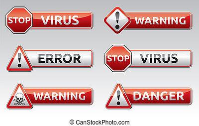peligro, virus, advertencia, icono