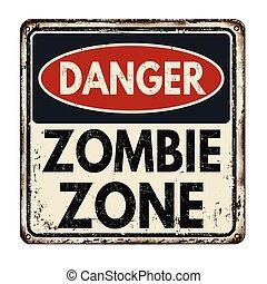peligro, zombi, zona, vendimia, signo metal
