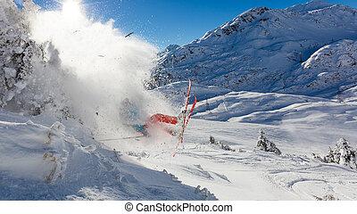 peligroso, accidente, esquiador, saltar, aire
