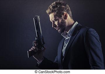 peligroso, arma, hombre valiente