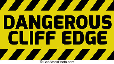 peligroso, borde, acantilado, señal