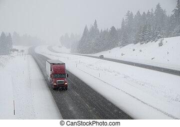 peligroso, conducción, nieve -covered, carretera, ...