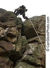 peligroso, militar, alpinism