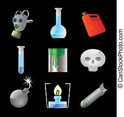 peligroso, química, iconos