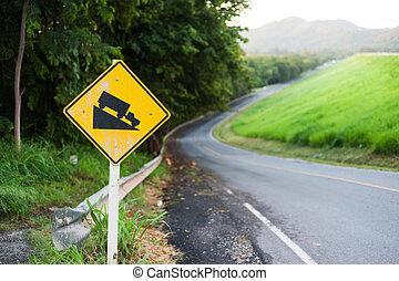 peligroso, símbolo, advertencia, escarpado, señal