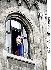 peligroso, ventana, limpio