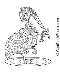 pelikan, kolorowanie, fish, ptak, wektor, książka