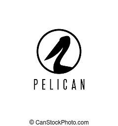 pelikan, vector, ontwerp, mal