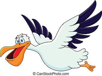 pelikan, vliegen, spotprent