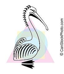 pelikan, zaciągnąć, płaski, poznaczcie., ilustracja, ptak, ręka, wektor, logo, projektować