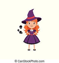 pelirrojo, disfraz, niña, vestido, púrpura, concept., rodeado, carácter, negro, gusto, llevando, plano, bruja, hat., caricatura, niño, illustration., skulls., truco, siluetas, vector, o