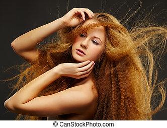 pelirrojo, mujer, rizado, largo-long-haired