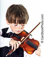 pelirrojo, preschooler, niño, con, violín