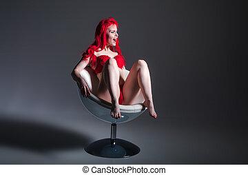 pelirrojo, sexy, mujer, estola