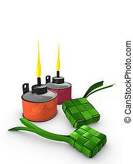Pelita, Ketupat - 3d image, Conceptual, Pelita (Oil lamp) &...