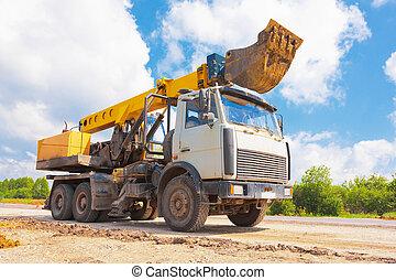 pelle, camion, route