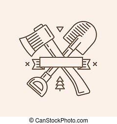 pelle, emblème, hache
