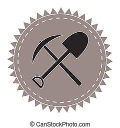 pelle, excavateur, seekers, trésor, vecteur, cueillir, logo, icône