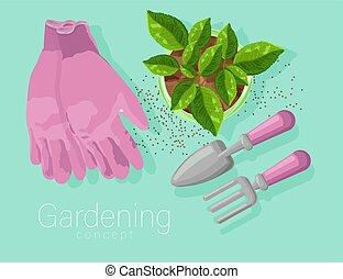 pelle, gants jardinage, rake., rose, pot, feuilles, thé, concept, croissant