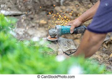 pelle, jardinier, more., whet, affûtage