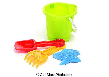pelle jouet, plage, râteau, /, seau, sable, moule, set:, a vedette-formé