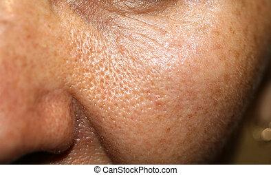 pelle, macro, ingrandito, guancia, pores.